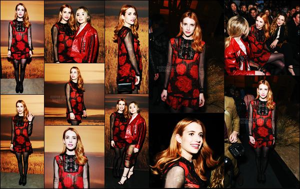 . 14/02/17 -Emma Roberts s'est rendue au défilé «Coach »dans le cadre de la Fashion Week, de New York ! Notre belle rousse Emma. R était sublime dans cette tenue rouge. J'aime énormément cette couleur de cheveux qui lui va à merveille. Un beau top .