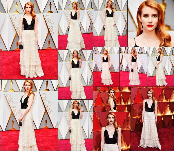 . 26/02/17 -Emma Roberts était présente lors des 89th Annual Academy Awards qui avait lieu à Hollywood, CA Emma Roberts était sublime lors de cette soirée. Un très beau top pour la tenue. Elle a également été vue à l'After Party en compagnie d'Evan Peters ! .
