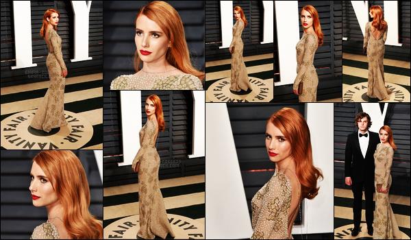 . 26/02/17 -Emma Roberts s'est rendue à l'After Party de Vanity Fair en l'honneur des Oscars, à Beverly Hills. Elle était tout simplement divine, je n'ai pas d'autres mots. Elle était en compagnie de son charmant fiancé Evan Peters, je lui accorde un gros top ! .