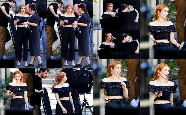 . 08/03/17 -Emma Roberts a été aperçue sur le set d'un nouveau photoshoot, dans le comté de Los Angeles. Emma Roberts est de retour au pays après avoir assisté à la Fashion Week de Paris. Nous retrouvons la belle sur le set d'un futur shooting .