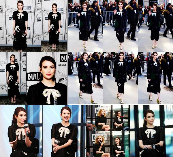 . 23/03/17 -Emma Roberts s'est rendue à une conférence de presse de The Black Coat's Daughter, à New York Emma était accompagnée de ses co-stars du film soitOsgood Perkins, Kiernan Shipka et Lucy Boynton. Pas fan de cette tenue, un bof ! .