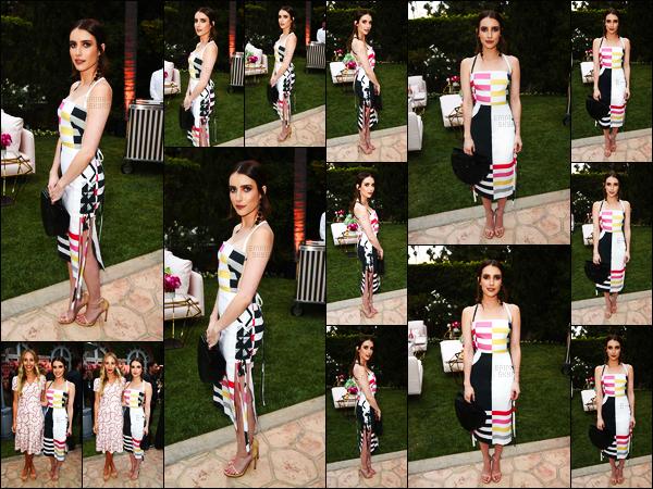 . 09/05/17 - Emma Roberts s'est rendue à un dîner organisé par Kim Crawford, ayant lieu dans Beverly Hills ! Pour l'occasion, Emma a choisie une robe plutôt colorée, je n'aime vraiment pas du tout, néanmoins j'aime beaucoup sa coiffure, un flop. .