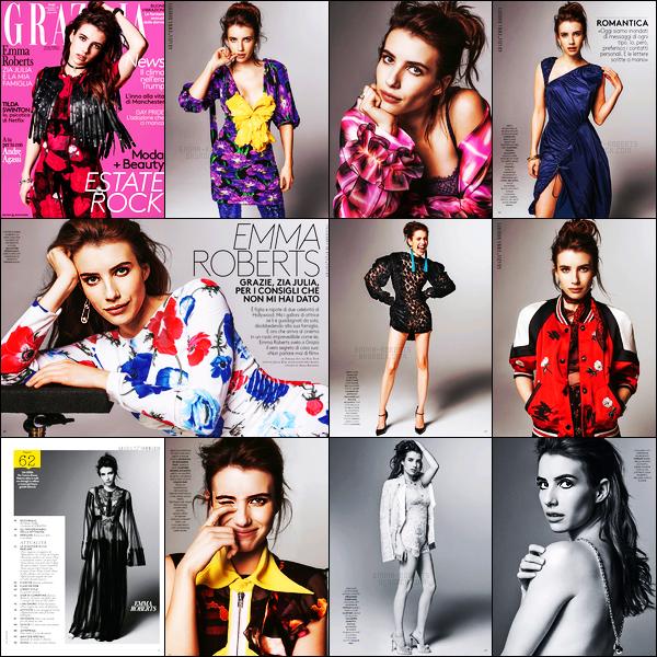 . Emma Roberts dans le magazine italien «Grazia » durant le mois de Juin 2017 ! .