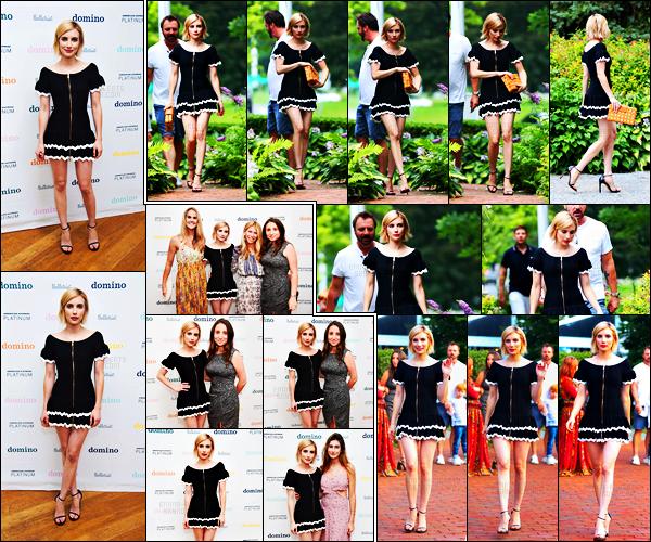 . 04.08.17 -Emma Robertss'est rendue à l'événement «Domino x American Express Platinum» à Bridgehampton, NY ! Notre belle actrice enchaîne les sorties, pour notre plus grand plaisir. Emma était sublime dans cette petite tenue trop mignonne, un top ! .
