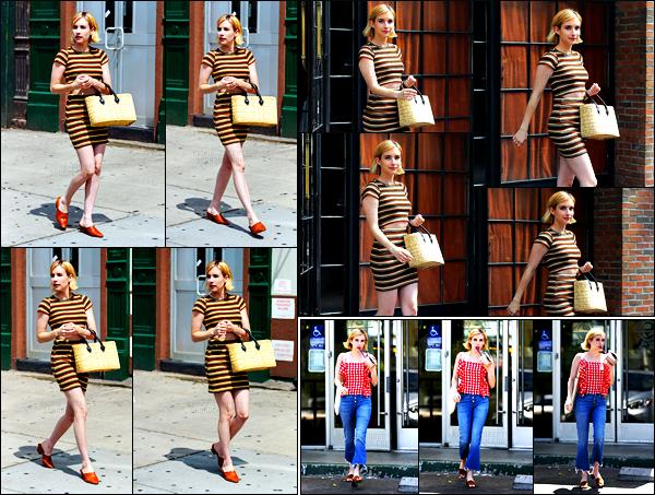 . 08.08.17 - La belle Emma Robertsa été photographiée par les paps, arrivant à son hôtel situé dans la ville de New York Je suis fan de cette petite tenue rayée, un gros top ! Le 11.08, Emma a été vue avec son café glacé en main, dans Studio City, petit top ! .