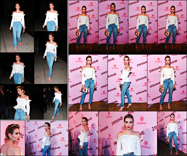 . 07.09.17 - La sublime Emma Roberts s'est rendue au « Refinery29 Third Annual 29Rooms: Turn It Into Art » dans NYC Un peu avant la belle a été vue quittant son hôtel pour se rendre à l'événement. J'aime beaucoup cette tenue, c'est un top pour Emma ! .