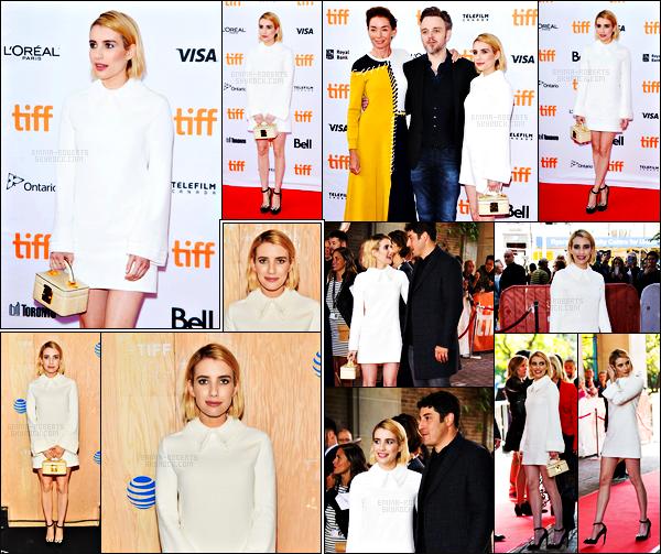 . 09.09.17 -Emma Robertsa été aperçue lors de l'avant première de «Who We Are Now» ayant lieu à Toronto, Canada ! Lors de cet événement Emma Roberts à choisie une sublime robe blanche que j'adore, un très beau top pour cette avant première, avis ? .