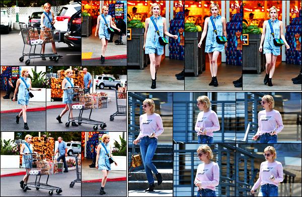 . 24.08.17 -Emma Roberts,a été photographiée alors qu'elle quittait « Bristol Farms » situé àBeverly Hills, en Calif ! Dans l'après-midi la belle Em' quittait le caféThe Coffee Bean & Tea Leaf, se trouvant dans Los Angeles. J'adore son haut, un beau top ! .