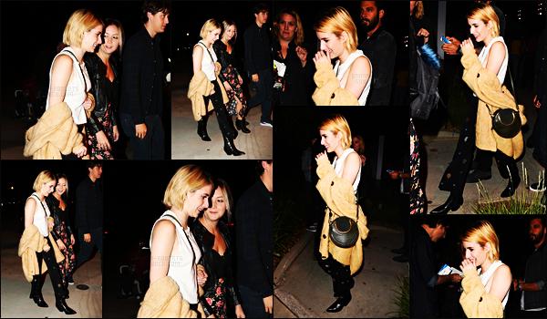 . 21.09.17 -Emma Robertsen compagnie de Billie Lourd, a été aperçue se rendant au concert de Harry Styles, dansLA ! Les deux amies très complices ont été vues alors qu'elle se rendaient au fameux concert du chanteur, j'aime beaucoup la tenue d'Emma. .