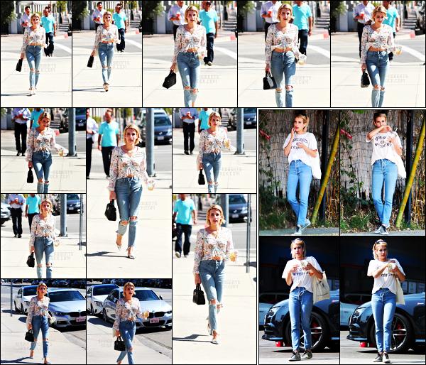 . 29.09.17 - La sublime Emma Roberts a été photographiée seule, marchant tranquillement dans les rues deLos Angeles. Emma est sublime lors de cette sortie, j'adore la tenue qu'elle porte, c'est un très joli top pour ma part ! Le 26.09 elle était aussi dans LA ! .