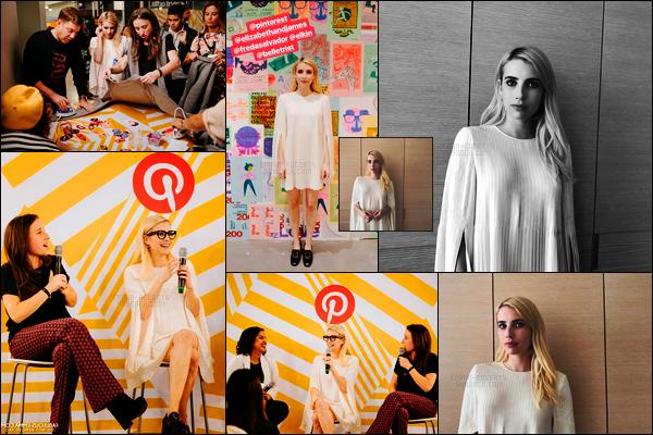 . 02.11.17 - Emma Robertsen compagnie de sa co-fondatrice de Belletristont été à un atelier Pinterest à San Francisco. C'est à San Francisco que la belle Emma Roberts s'est rendue afin de promouvoir son club de lecture en ligne : Belletrist. Une jolie tenue ! .