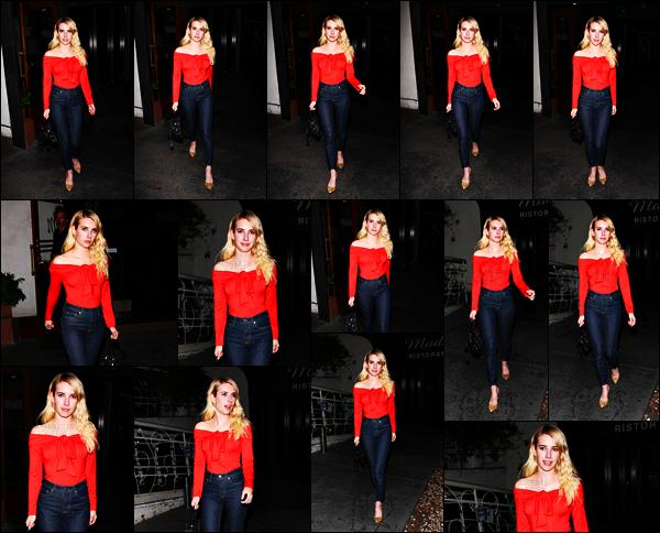 . 06.11.17 - Emma Roberts a été photographiée quittant le restaurant italien « Madeo» situé dans West Hollywood (CA) La sublime Em a été repérée à la sortie du restaurant, je la trouve très belle lors de cette sortie, je suis fan de la tenue et la coiffure, top ! .