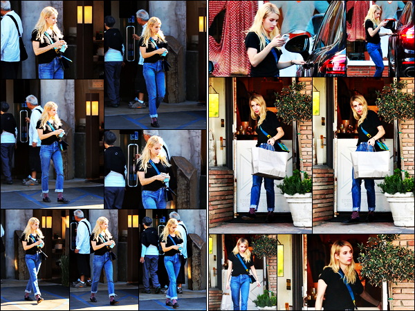 . 09.11.17 - La belle Emma Roberts a été photographiée à deux reprises faisant quelques boutiques dans Los Angeles CA C'est la sublime Emma que nous retrouvons avec ses nouvelles extensions de cheveux, dans les rues de Los Angeles. Un petit bof la tenue .