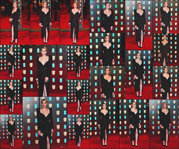 . 18.02.18 - Emma Roberts s'est rendue à la 71e cérémonie des«British Academy Film Awards »'▬'dansLondres ! C'est une Emma Roberts plus sublime que jamais que nous retrouvons lors de cette cérémonie dans Londres. Gros gros top pour Emma. .