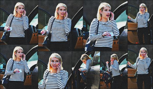 . 27.02.18 - Emma Robertsa été photographiée quittant sa voiture, pour aller déjeuner'▬'dansLos Angeles, en Calif ! Très peu de photos pour cette sortie, mais Emma était très souriante, ça fait plaisir.. C'est aussi un top pour cette petite tenue, ton avis ? .
