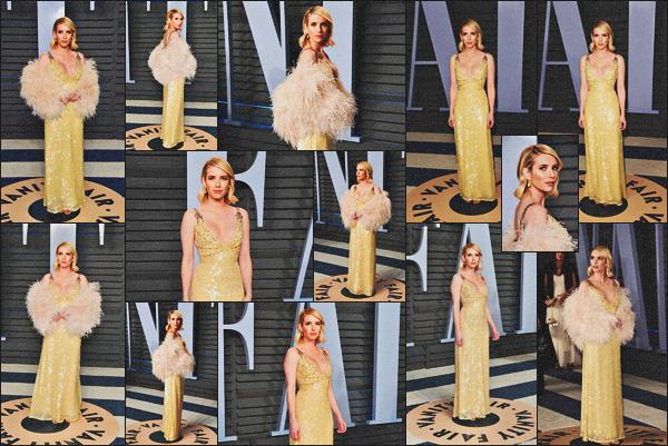 . 04.03.18 - Emma Robertss'est rendue à l'After Party des Oscars par «Vanity Fair»' ▬ 'se déroulant àBeverly Hills. Comme il se doit Emma Roberts, sublime dans sa robe, s'est rendue à l'after party des Oscars ayant lieu à B-H. C'est un gros top pour Em .