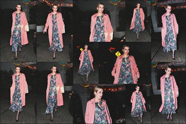 . 21.03.18 - Emma Robertsa été photographiée quittant undînerayant lieu auChâteau Marmont'▬'W. Hollywood ! C'est toute belle que nous retrouvons Emma de nuit, après avoir dîner au célèbre Château Marmont, dans West Hollywood, c'est un top.. .