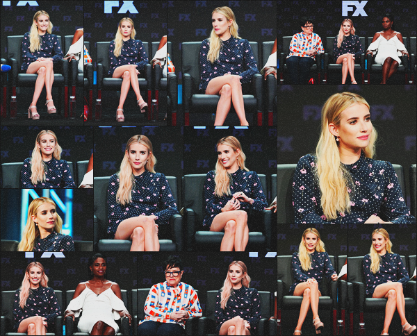 . 03.08.18 - Emma Roberts s'est rendue au panel de « American Horror Story: Apocalypse » ayant lieu à'' ▬ ''BH, CA ! C'est lors du Summer 2018 TCA Press Tour que la sublime blonde et le reste du cast de la saison 8 se sont rendus au panel d'AHS, en CA.. .