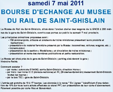 Bourse d'échange au musé du rail de Saint-Ghislain    Samedi 7 Mai 2011
