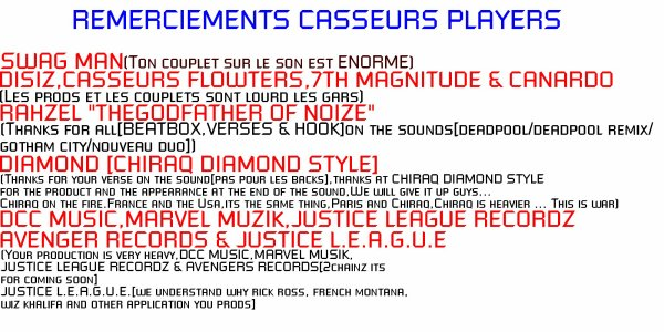 "BOOKLET ""CASSEURS PLAYERS"" AVEC THOMAS HAWK (PAGES 16 A 18+TRACKLIST)"