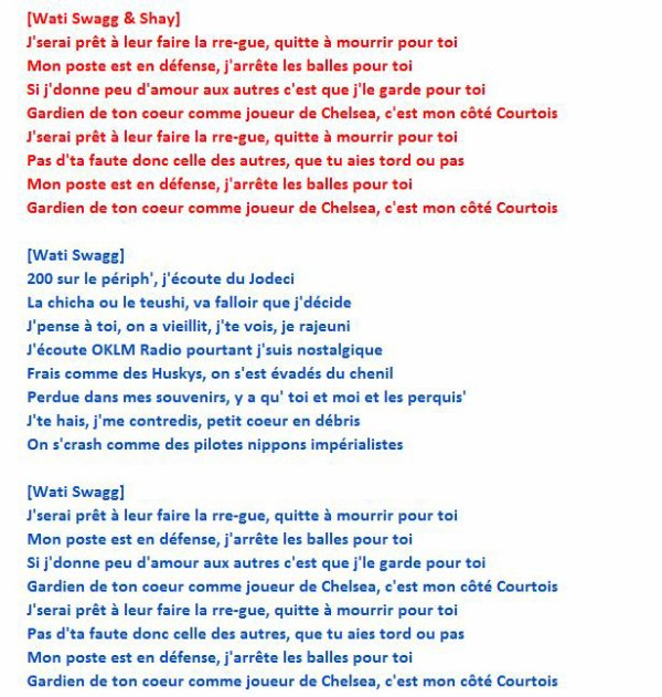 "PAROLES - ""Thibaut Courtois [NOUVELLE VERSION]"" AVEC SHAY"