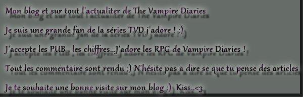 Bienvenue sur mon blog de Vampire Diaries !