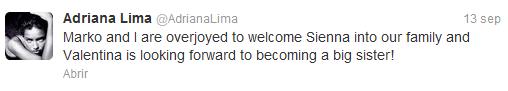 le 13 septembre 2012 : Bienvenue à Sienna ( la 2eme fille du couple)