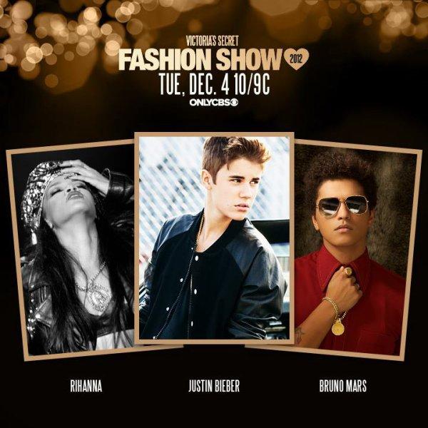 Justin Bieber , Rihanna et Bruno Mars vont avoir pour mission de mettre le feu au prochain show de Victoria's secret