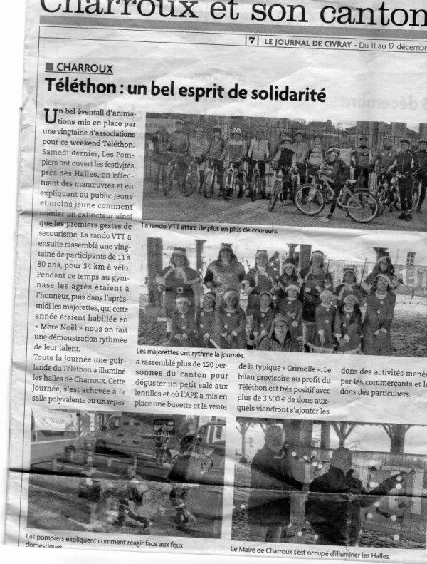 telethon à Charroux le 6 décembre 2014