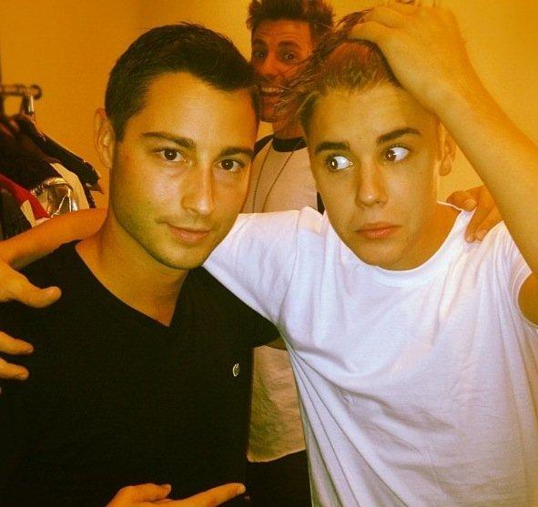 Justin sur le tournage du film de Selena