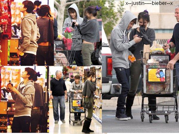 justin et selena faisant des courses + justin sortant d'un restaurant Mexicain