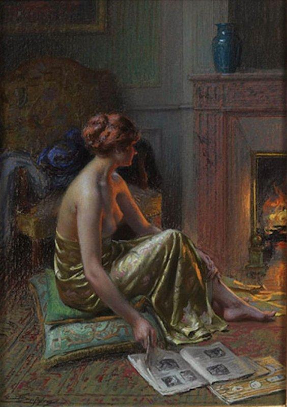 DELPHIN ENJOLERAS (1865 - 1945) PRÈS DU FEU