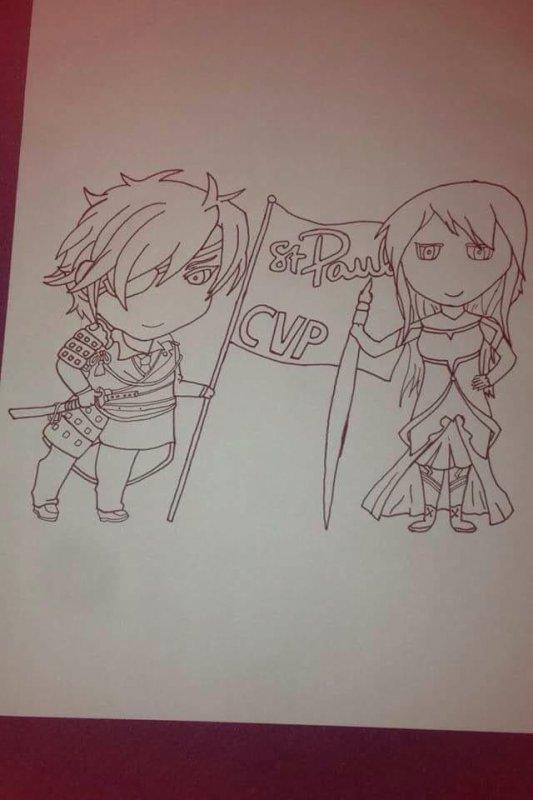 Dessin Akashi et Atsumi en chibie.