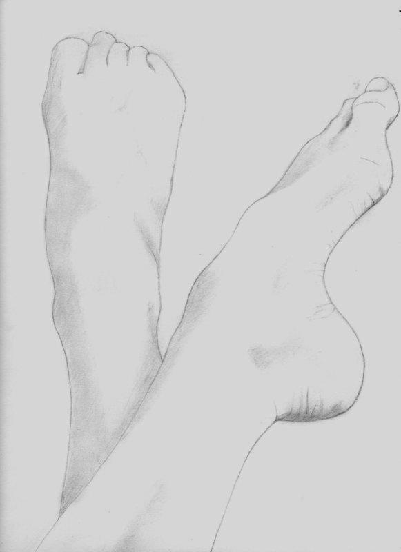 Reprise du dessin : mes pieds