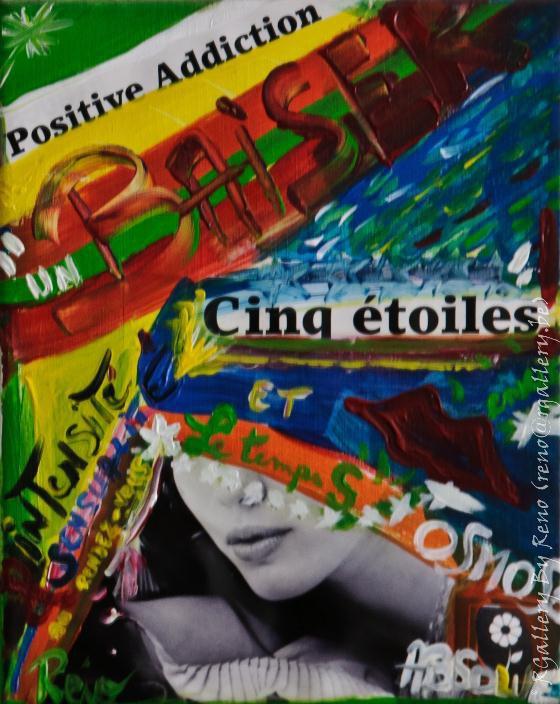 """Peinture acrylique avec collages sur toile (24 X 40 cm) - """" Un baiser 5 étoiles """""""