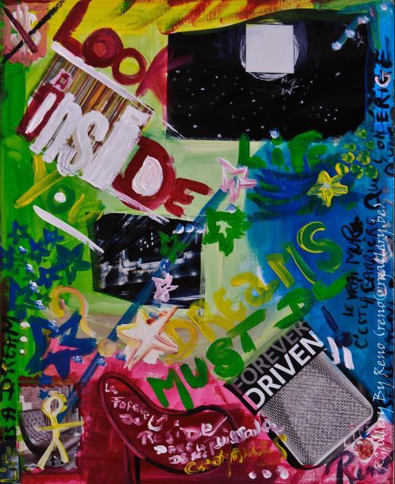 """Peinture acrylique avec collages sur toile (40 x 50 cm) - """" Look inside """""""