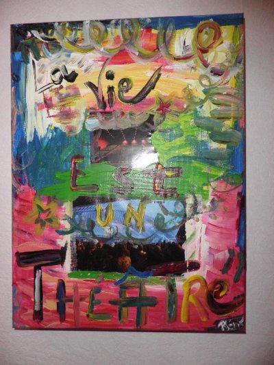 """Peinture acrylique avec collages sur toile (40 x 50 cm) - """" La vie est un théâtre """""""