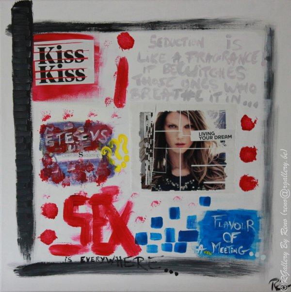 """Peinture acrylique avec collages sur toile (60 x 60 cm) - """" Seduction """""""