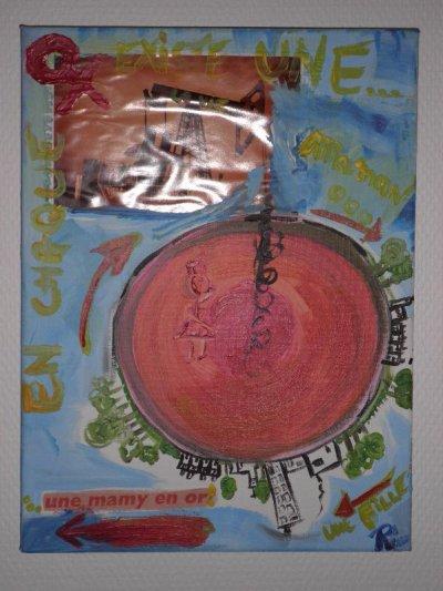 """Peinture acrylique avec collages sur toile (30 x 40 cm) - """" Mamy """""""