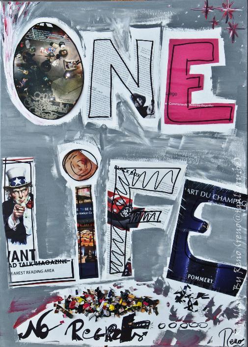 """Peinture acrylique avec collages sur toile (50 x 70 cm) - """" One Life """""""