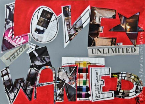 """Peinture acrylique avec collages sur toile (70 x 50 cm) - """" Love unlimited wanted """""""