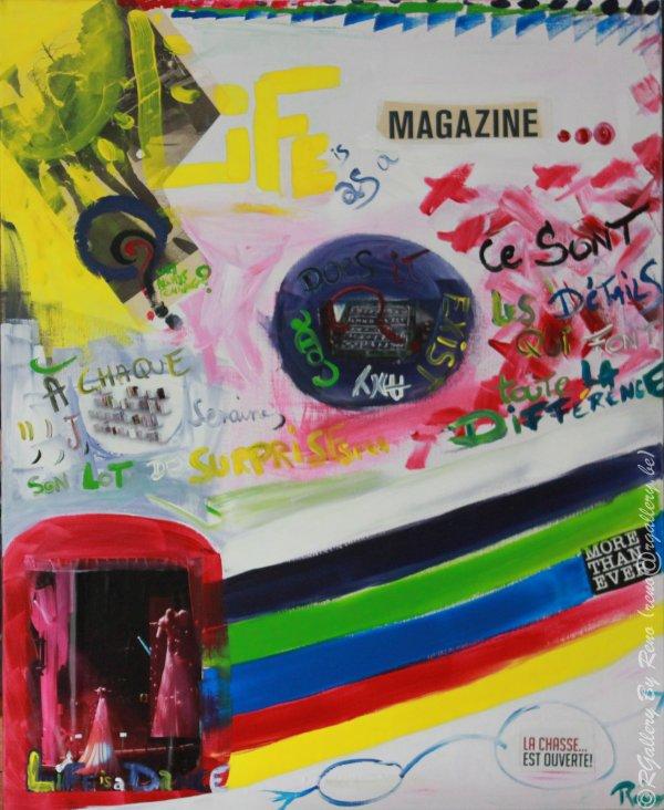 """Peinture acrylique avec collages sur toile (80 x 100 cm) - """" Life is as a magazine """""""