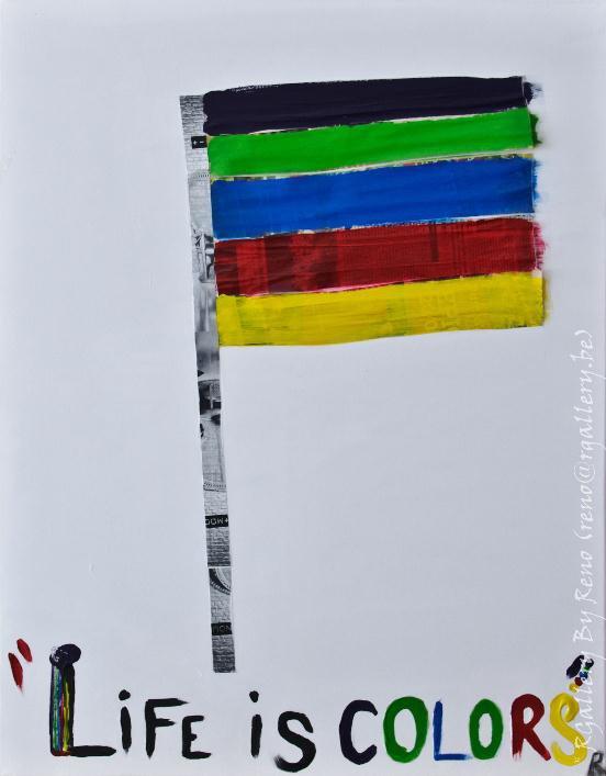 """Peinture acrylique avec collages sur toile (70 x 90 cm) - """" Life is colours """""""