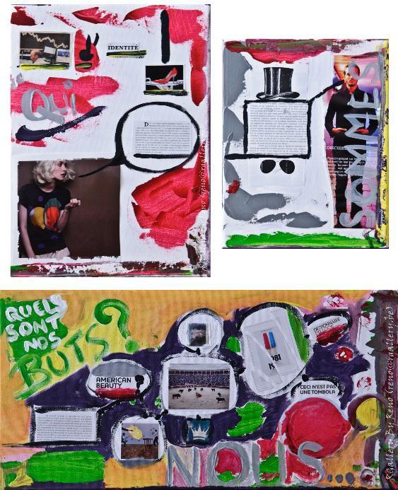 """Peinture acrylique avec collages sur toile - Triptyque (30 x 40  -  25 x 30  -  60 x 30cm) - """" Qui sommes nous? """""""