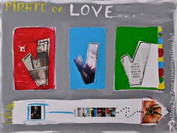 """Peinture acrylique avec collages sur toile (80 x 60 cm) - """" Pirate of love """""""