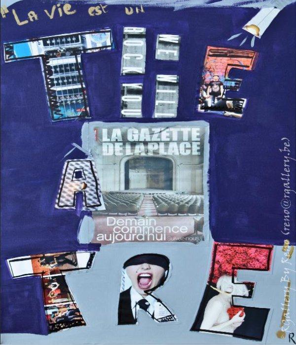 """Peinture acrylique avec collages sur toile (50 x 70 cm) - """" La vie est un théâtre """""""