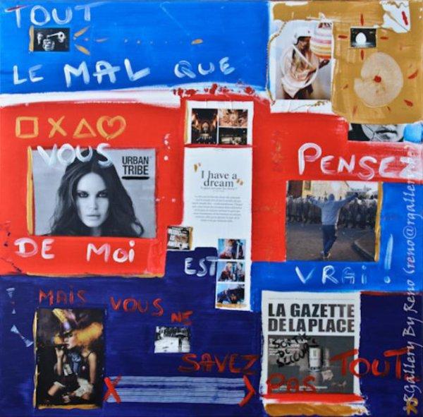 """Peinture acrylique avec collages sur toile (100  x 100 cm) - """" Music is awesome ! """""""