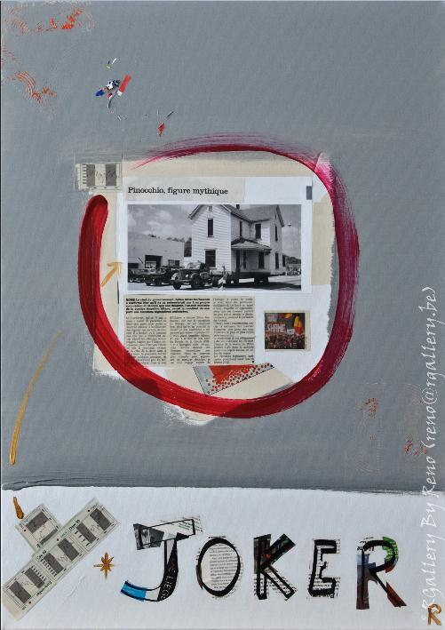 """Peinture acrylique avec collages sur toile ( 50 x 70 cm) - """" Joker """""""