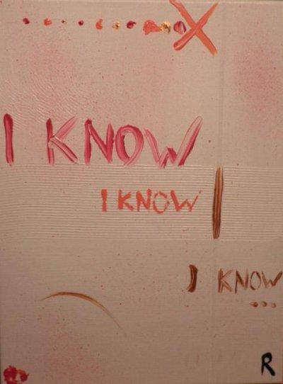 """Peinture acrylique avec collages sur toile ( 30 x 40 cm) - """" I know  I know  I know """""""