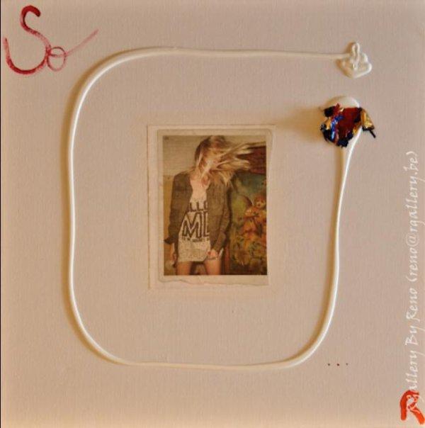 """Peinture acrylique avec collages sur toile ( 40x 40 cm) - """" So..."""""""